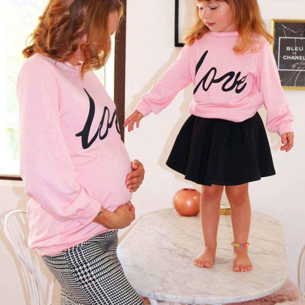 f1e5179d1ed3d ... Family Pregnant Mother and Daughter Matching Shirts Love Letters  Printed Long Sleeve Pink Hoodies Sweatshirt Outfits ...