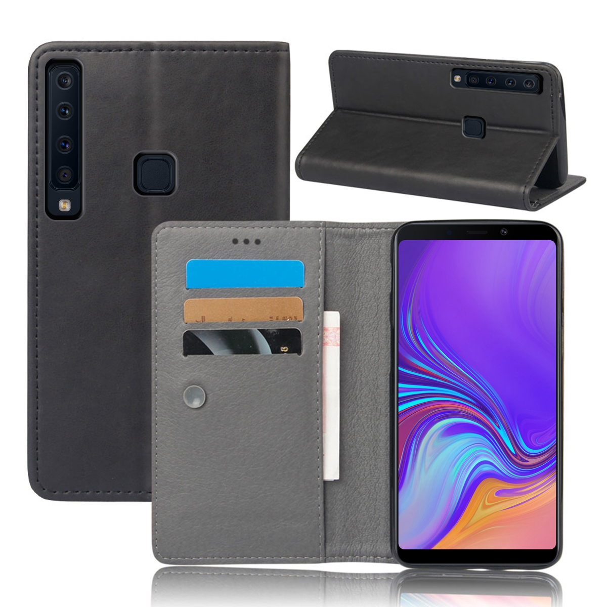 CASEWIN For Samsung Galaxy A9 2018 A9 Star Pro A9s Case PU Leather Slim Fit Magnetic Flip Stand Protective Cover With Card Slots