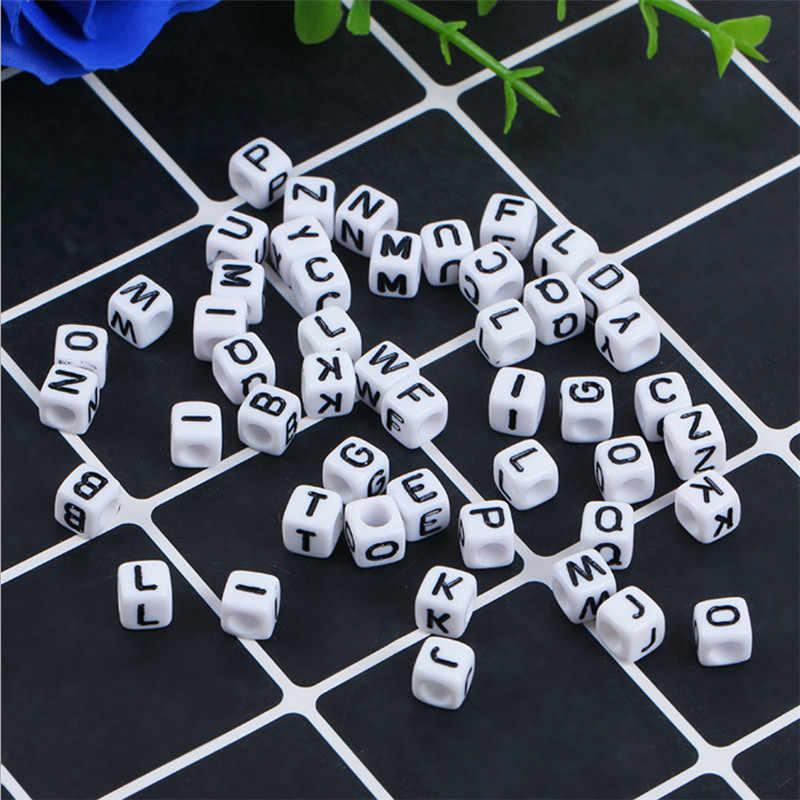100Pcs//Lot A-Z Lette White Square Cube Beads Alphabet Acrylic Bead 6*6mm