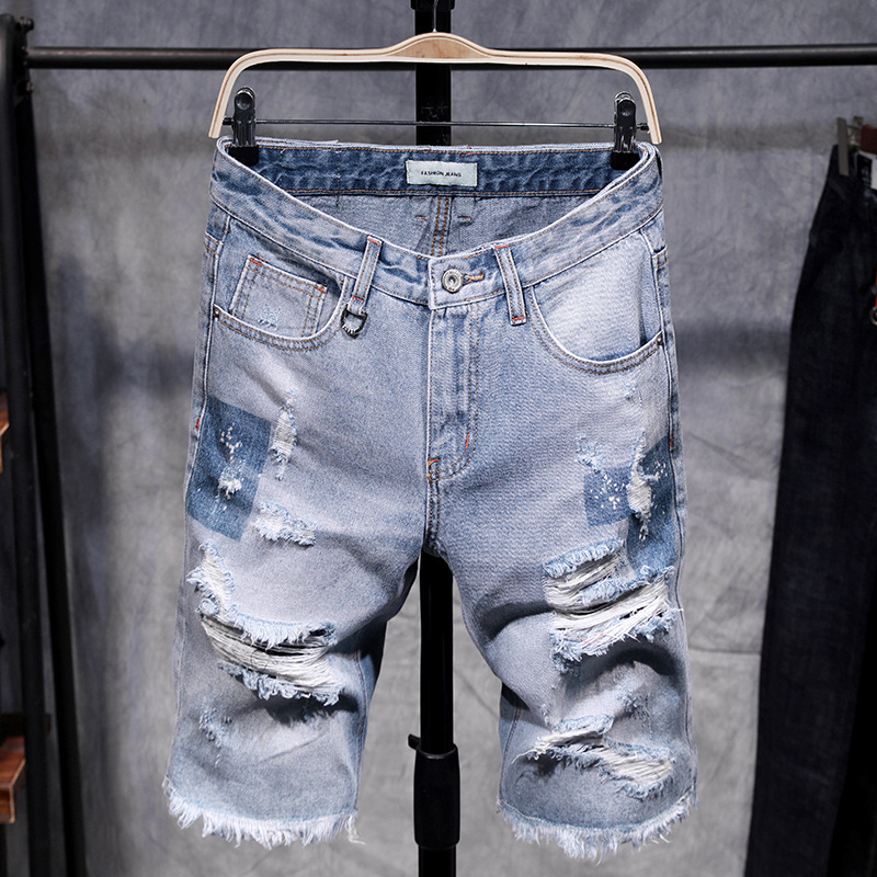 Denim Shorts Jeans Bermuda Distressed Ripped Vintage Hollow-Out Knee-Length Male Fashion