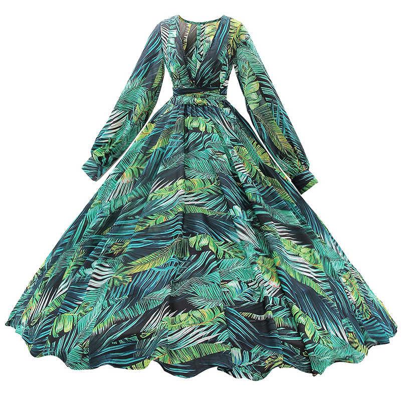 c26c31dabda ... Isiksus Floral Long Sleeve Maxi Dress Boho Dress Women Summer Beach  Vintage A Line Green Tropical ...