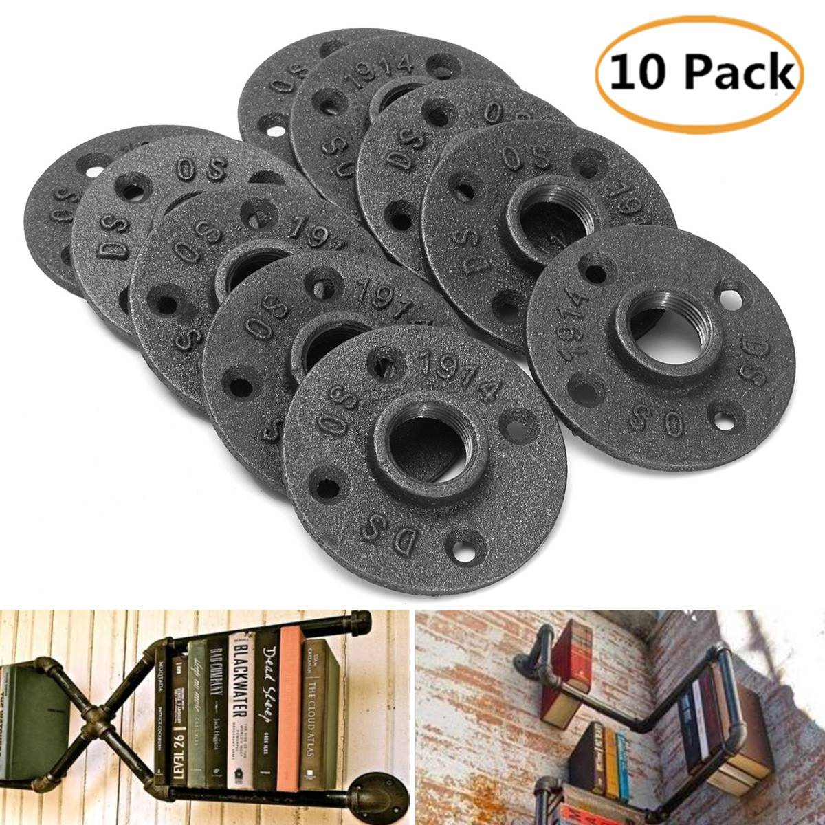 10pcs 3/4 Exhaust Wall Mount Floor Flanges Cast Iron Flanges Thread Malleable Industrial Pipe Fittings Bathroom Shelves Tools