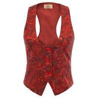 GK ajustable de las mujeres de la correa chaleco Jacquard abrigo 3-Botones de chaleco chalecos para mujer