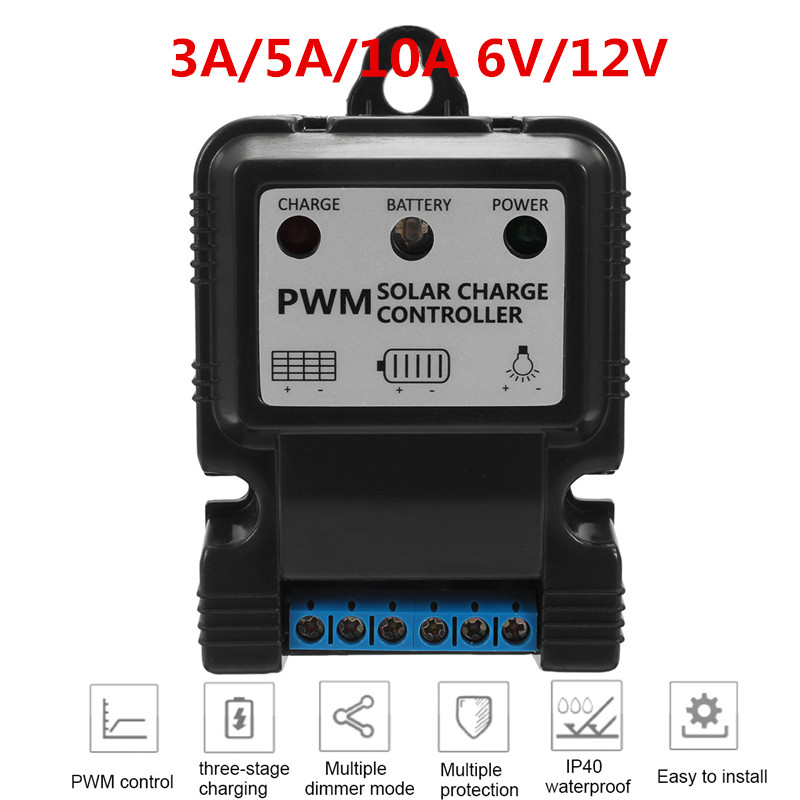 1Pc New Useful Durable 6V 12V 3A/5A/10A Auto Solar Panel Charge Controller Battery Charger Regulator Hot Home Improvement1Pc New Useful Durable 6V 12V 3A/5A/10A Auto Solar Panel Charge Controller Battery Charger Regulator Hot Home Improvement