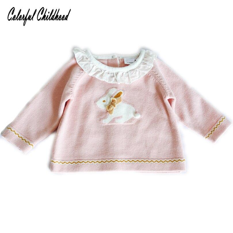 Kreativ Frühling Herbst Neugeborenen Baby Mädchen Shirt Kleinkind Infant Langarm Prinzessin Rüschen Kragen Niedlichen Kaninchen Druck Gestrickte Kinder Shirts