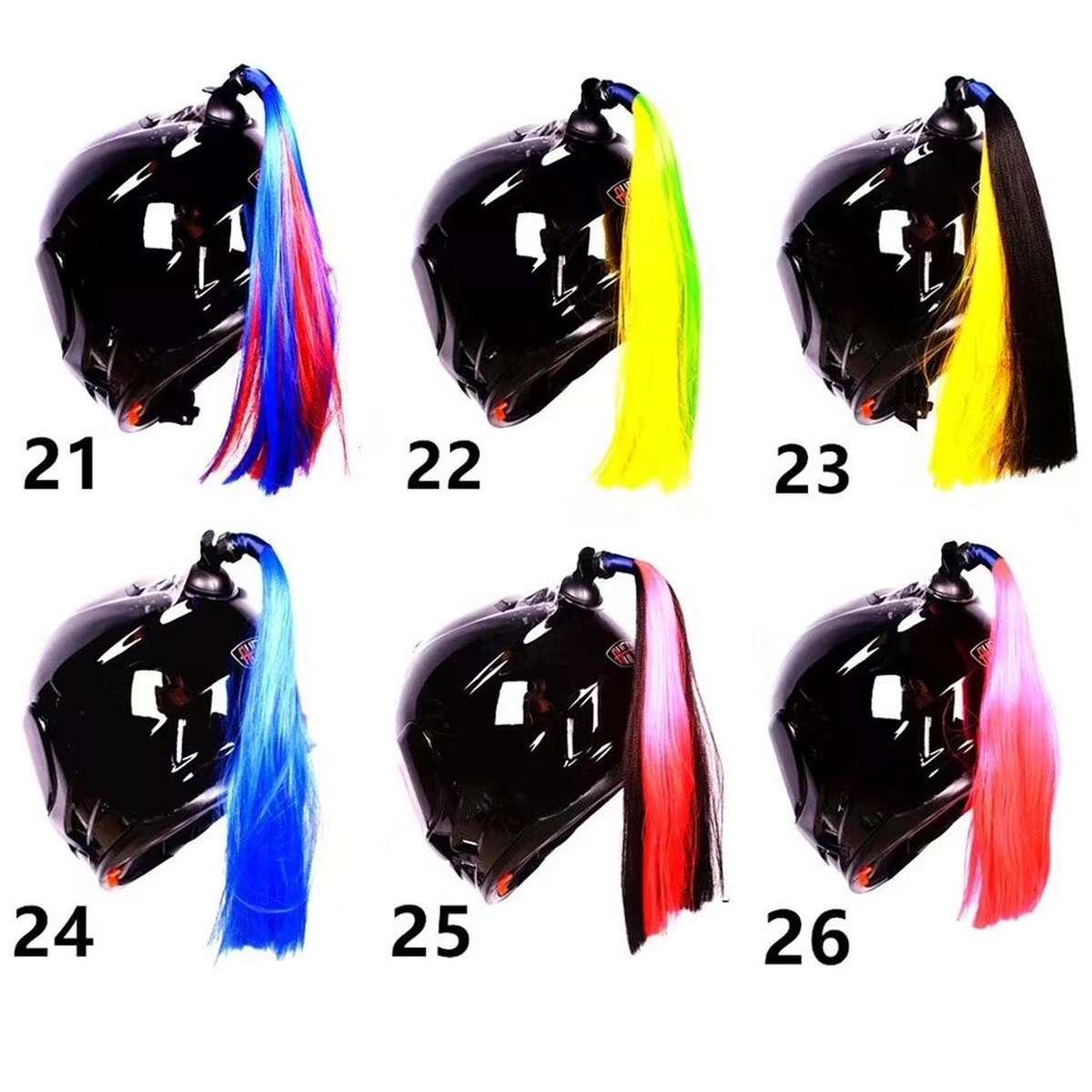 Gradient Ramp Helmet Braids Ponytail Helmet Hair Pigtails Motorcycle Bike Decor