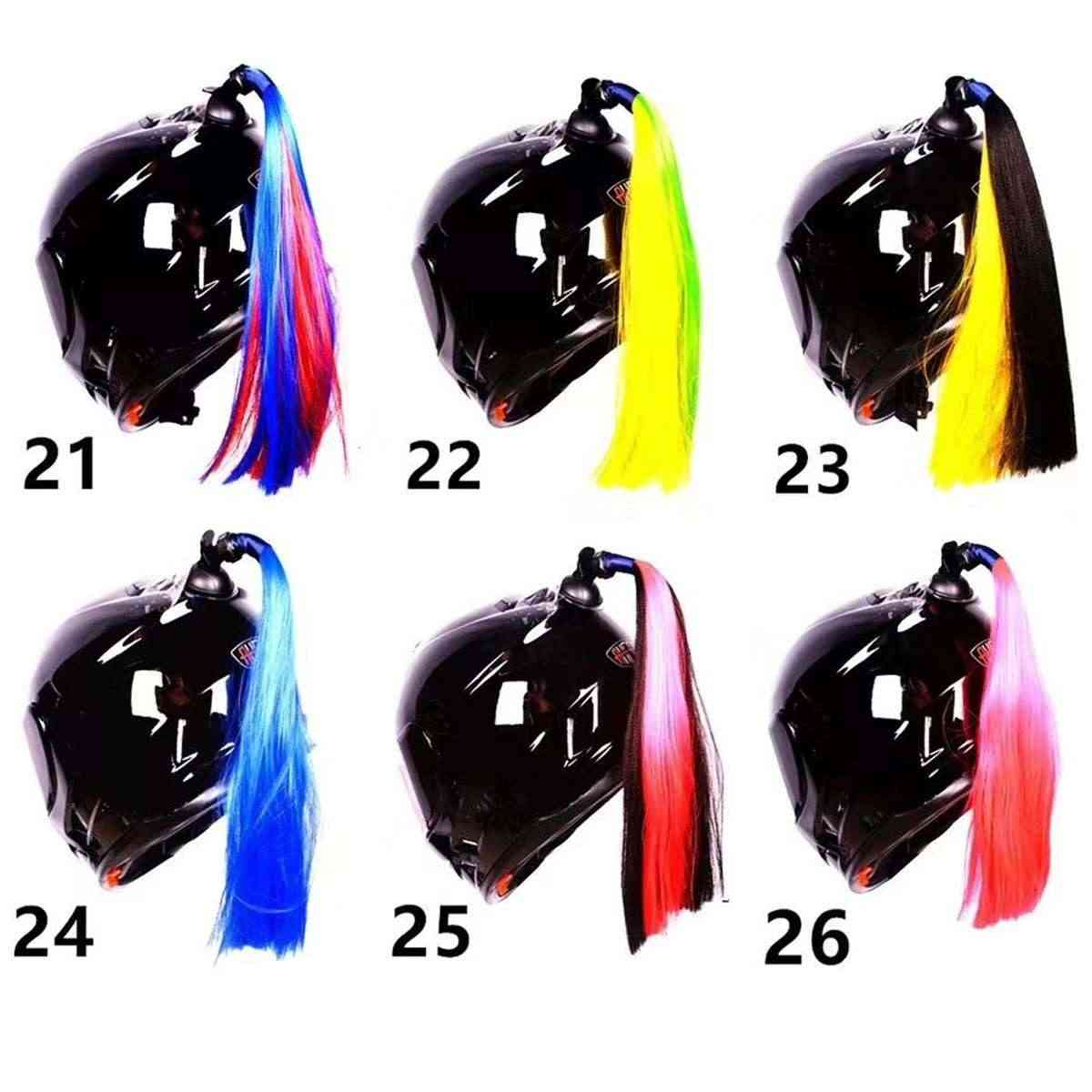 30cm Motorcycle Bike Gradient Ramp Helmet Sucker Removable Braid Pigtail Ponytail Straight Hair Mix Color Dirt Bike Ski Street