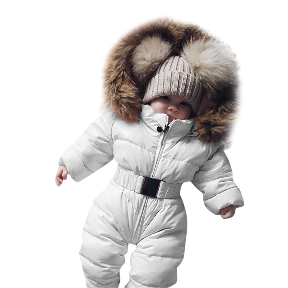 Kids Toddler Baby Girls Boys Faux Fur Hooded Padded Romper Coat Puffer Jacket