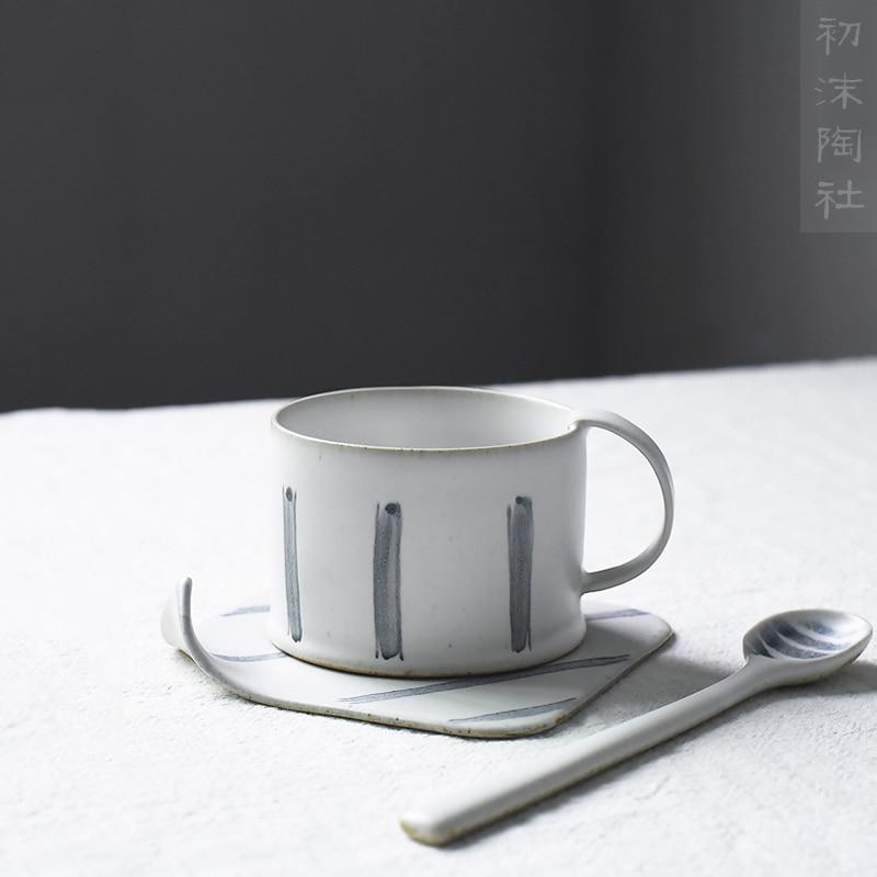 Handmade crude pottery Japanese simple creative hand painted art retro coffee cup dish spoon set milk tea breakfast ceramic mug