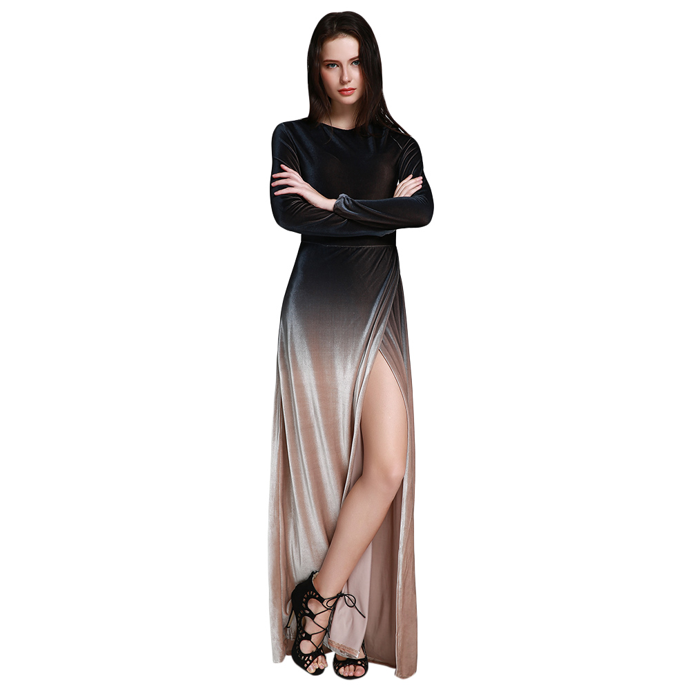 47b0632732 Maxi Dress With Long Sleeves And Split – DACC