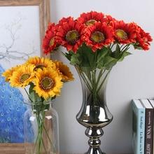 5pcs/lot Silk Sunflower decorative artificial flowers Home Decorations Accessories Plastic Plant Leaves Party Supplies