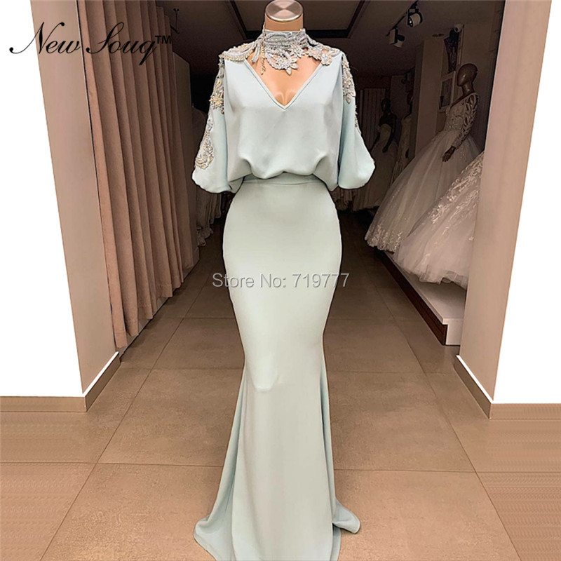 Mermaid Appliqued Arabic   Evening     Dresses   2019 Kaftan Dubai Long Party Gowns Lebanon Design Women Formal Cheap Prom Gowns Custom