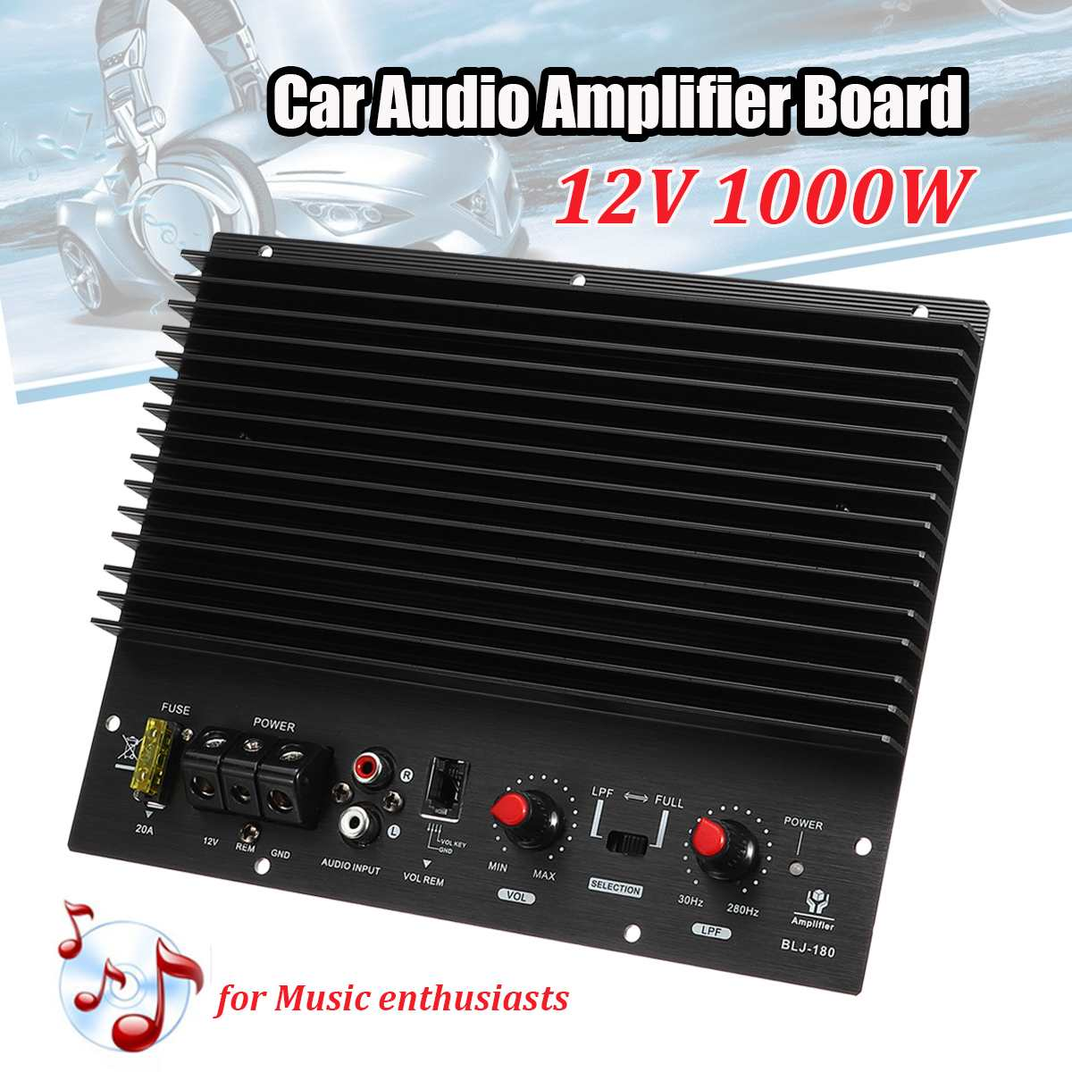 12V 1000W <font><b>Car</b></font> <font><b>Amplifier</b></font> Board Multichannel <font><b>Audio</b></font> <font><b>Amplifier</b></font> Subwoofer Powerful Bass <font><b>DIY</b></font> Amp Board Auto <font><b>Car</b></font> Music Player image