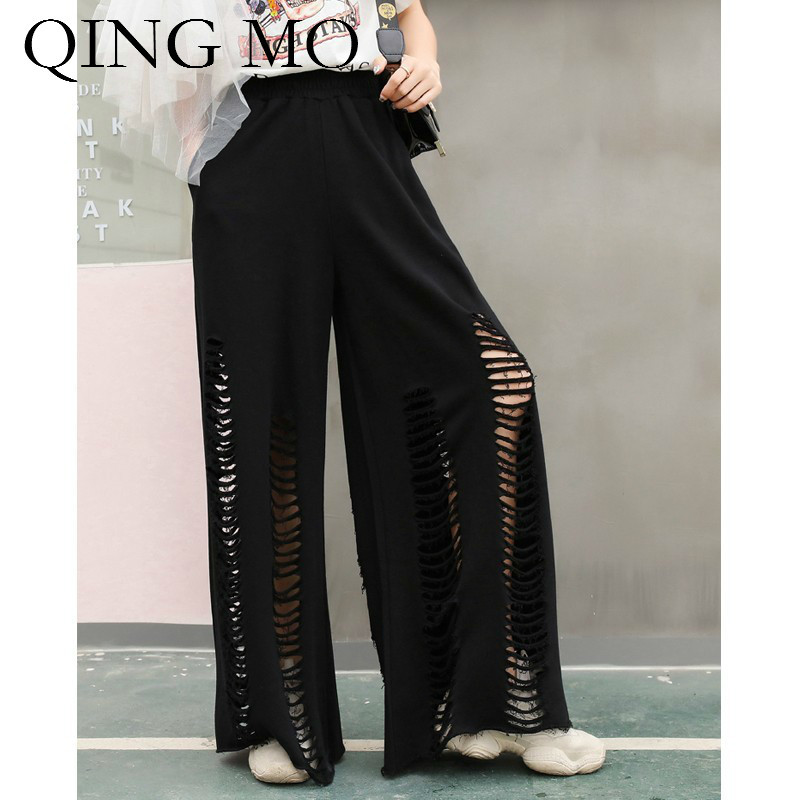 QING MO femmes noir solide évider large jambe pantalon femmes taille élastique taille haute large jambe pantalon printemps été ZQY256
