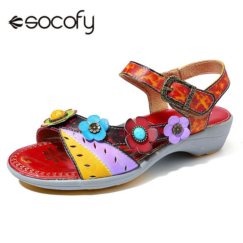 SOCOFY Comfy Hand Painted Genuine Leather Floral Splicing Buckle Hook Loop Sandals Retro Summer Shoes New Ladies Shoes NewSOCOFY Comfy Hand Painted Genuine Leather Floral Splicing Buckle Hook Loop Sandals Retro Summer Shoes New Ladies Shoes New