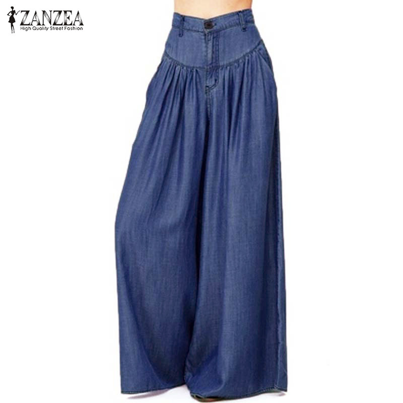 ZANZEA Women   Wide     Leg     Pants   2019 Summer Ladies Pleated   Pants   Casual Baggy Long Trousers Zipper Pantalon Femme Palazzo Plus Size