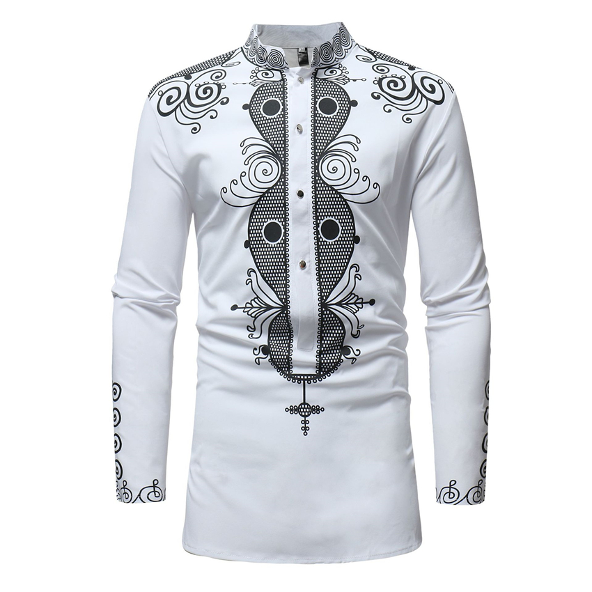 New Fashion Africa Style Print Shirt Man Riche Bazin Long Sleeve Dress African Ethnic Traditional Slim Button T-shirt for Men