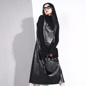 [EAM] 2019 New Spring Summer Spaghetti Strap Sleeveless Hem Vent Black Loose Pu Leather Dress Women Fashion Tide All-match JO2 2