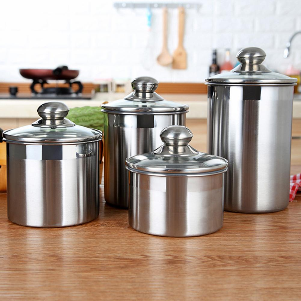 Stainless Steel Food Storage Seal Can Coffee Bean Tea Leaves Holder Sealed Cans Portable Container Stash Jar Herb Spice Tools