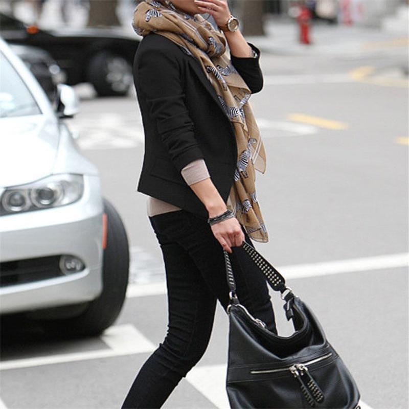 Ladies' Casual Skinny Cotton West Slim Short Ladies Top Jacket Pure Black Temperament Suit Top