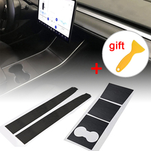 1set New Carbon Fiber Car Stickers Center Console Dashboard Vinyl Wrap Sticker Durable Practical For Tesla Model 3