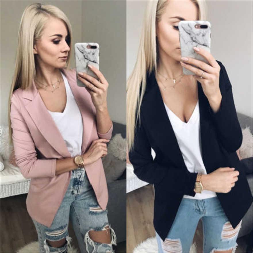 秋の女性のジャケットブレザー 2019 スリムコートオフィスの女性のスーツ固体ピンク黒女性ブレザーファム-ビジネスブレザー