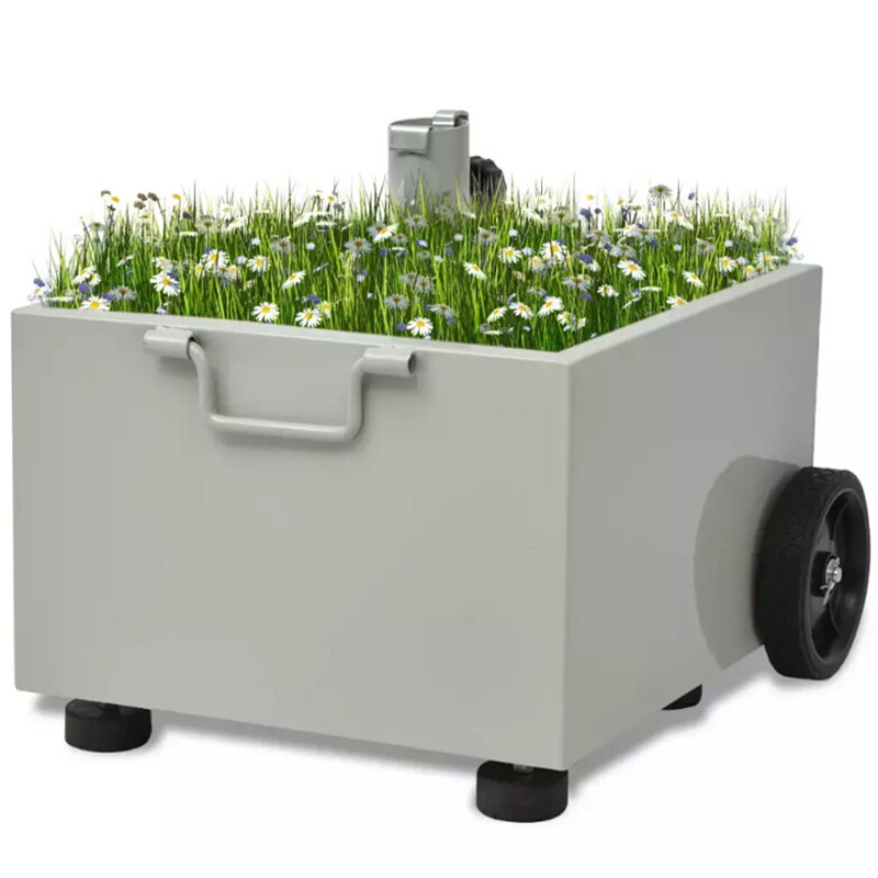 VidaXL support parapluie extérieur Pot de plante gris Durable métal plantes ou fleurs pot jardin parapluie Base support jardinière extérieur