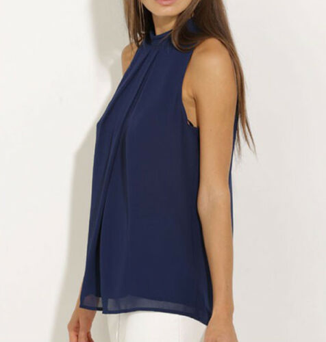Summer Blouses HOT Women Summer Casual Sleeveless O Neck Blouse Dark Blue Loose Chiffon Blouse Size S XL in Blouses amp Shirts from Women 39 s Clothing