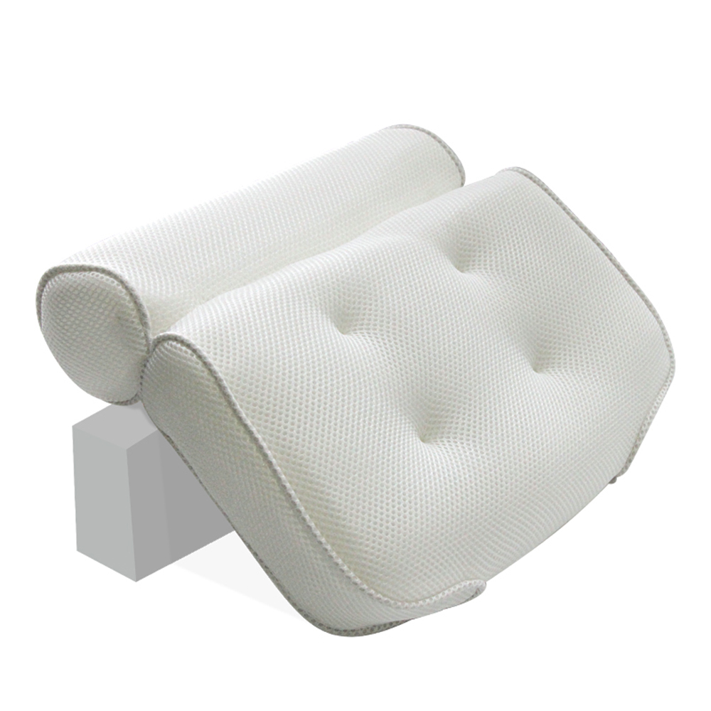 Spa Bath Pillow With Suction Cup Non-Slip Head Shoulder Neck Support Mesh Tub