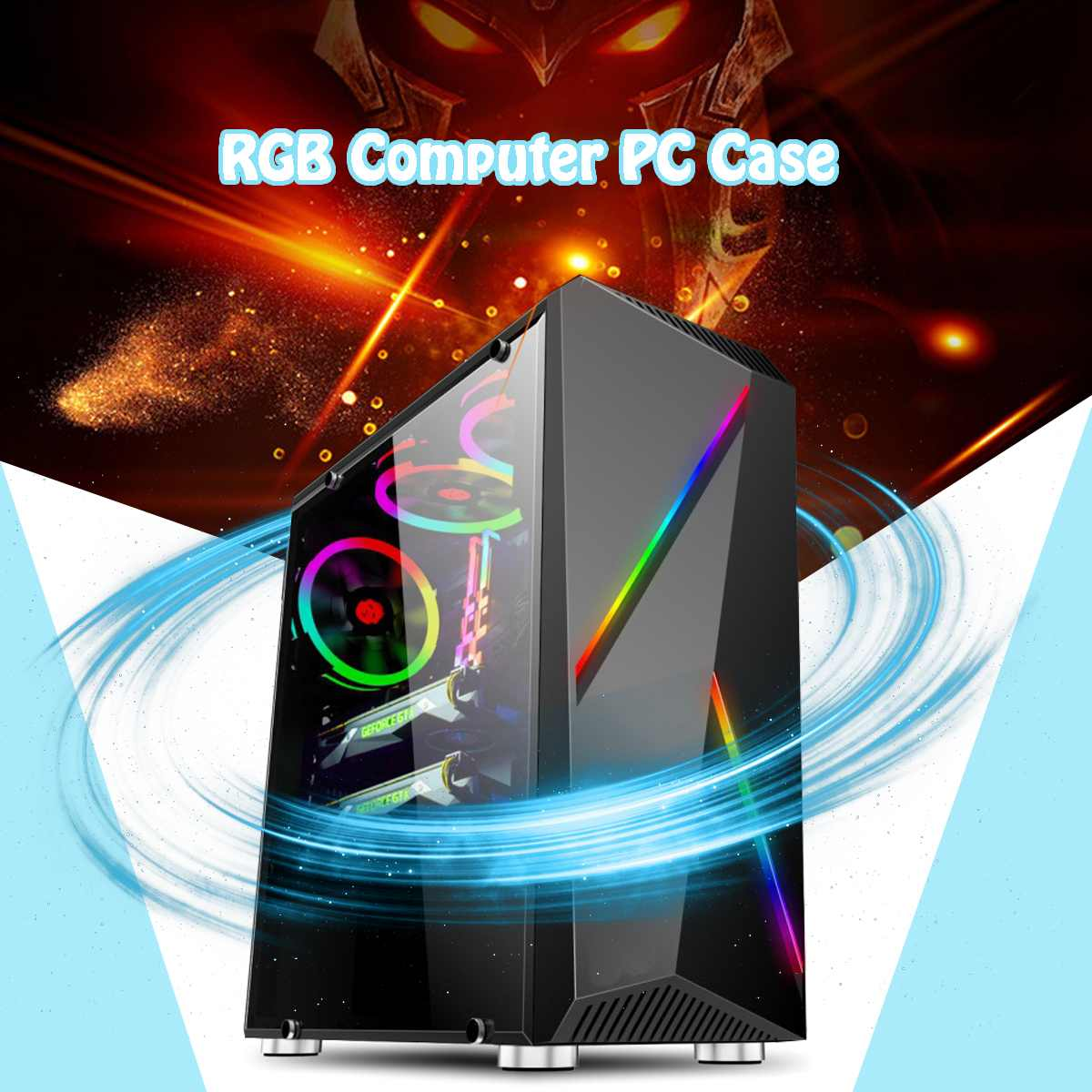 LEORY Transparente ordinateur PC boîtier de jeu tour ATX Audio avec 2 RGB couleur changeante bandes lumineuses 350X170X420mm