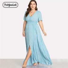 Pickyourlook Women Dress Plus Size Summer Short Sleeve Female Maxi Dress Light Blue Geometric V Neck Button Lady Robe Vestidos
