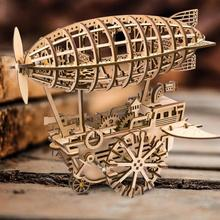 DIY Airship Gear Drive Clockwork Toy 3D Wooden Puzzle Model Building Toys