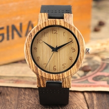 Minimalist Wood Watches Mens Watch Simple Retro Numbers Leat