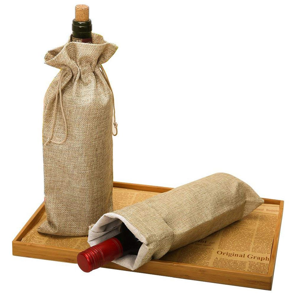 Pack Of 10 Linen Wine Bottle Covers With Drawstring 13.8 Inch X 5.9 Inch Jute Wine Bag Holder Carrier For Gifting And Decorating