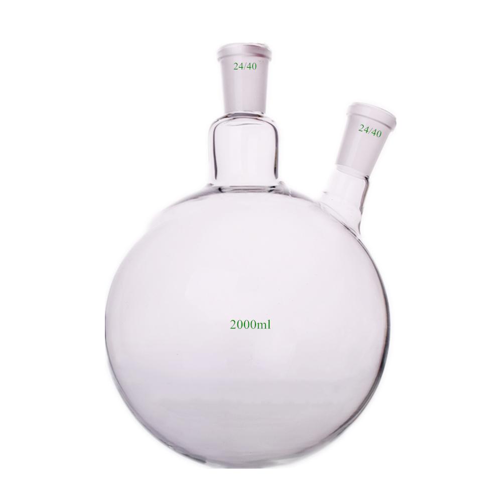 2000ml 24 40 2 Neck Round Bottom Glass Flask 2L Reaction Vessel Double Necks