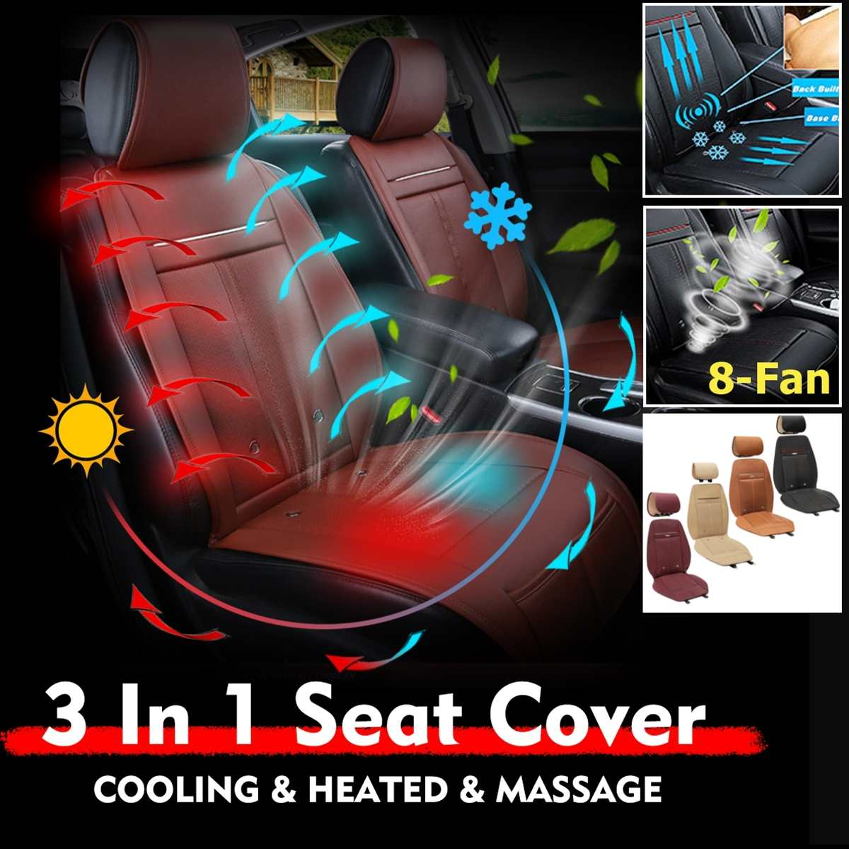 Universal 3 In 1 Car Seat Cover Cushion Cooling & Warm Heated & Massage Chair With 8 Fan Multifunction Automobiles Seat Covers