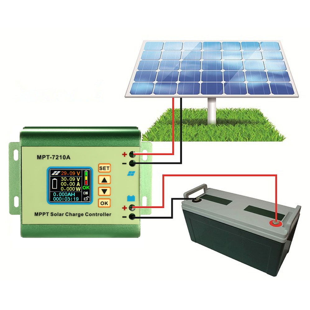 MPPT Solar Panel Battery Regulator Charge Controller LCD Color Display 24/36/48/60/72V10A Compatible DC-DC Boost Charge FunctionMPPT Solar Panel Battery Regulator Charge Controller LCD Color Display 24/36/48/60/72V10A Compatible DC-DC Boost Charge Function