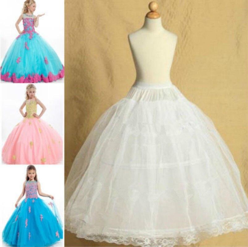 Kids 2 Hoop Skirt Pettiskirt For Wedding Flower Girl Petticoat Children Underskirt Slips Adjustable For Child 4-13 Years Old