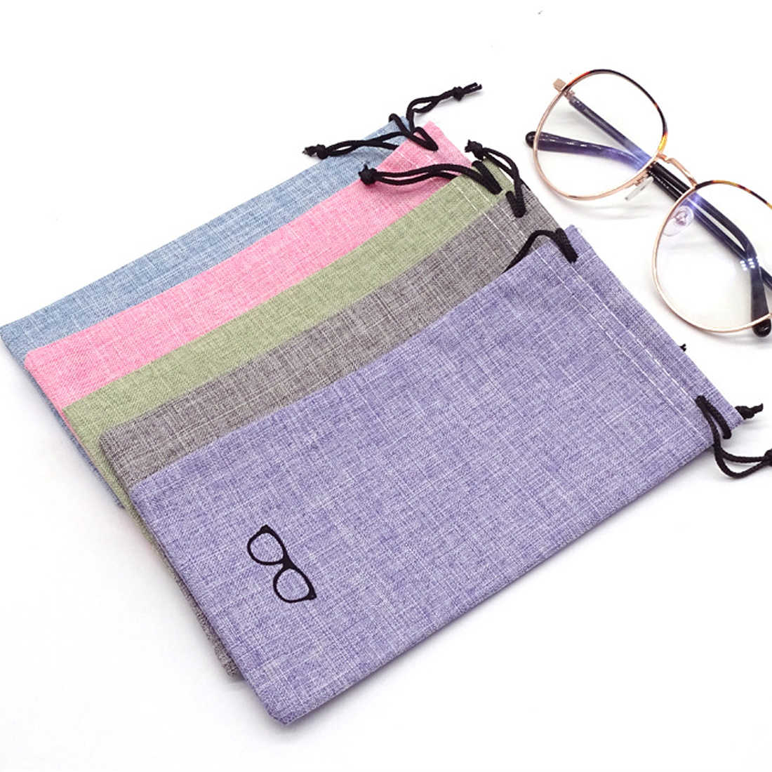 1PC Portable Linen Fabric Sunglasses Pouch For Eyewear Smooth Surface Container Glasses Bag 4 Colors