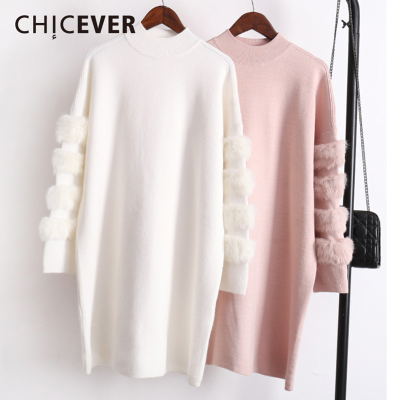 CHICEVER Winter Knitted Pullovers Female Sweater For Women Top Long Sleeve Loose Big Size Thick Warm Sweaters Jumper Clothes New