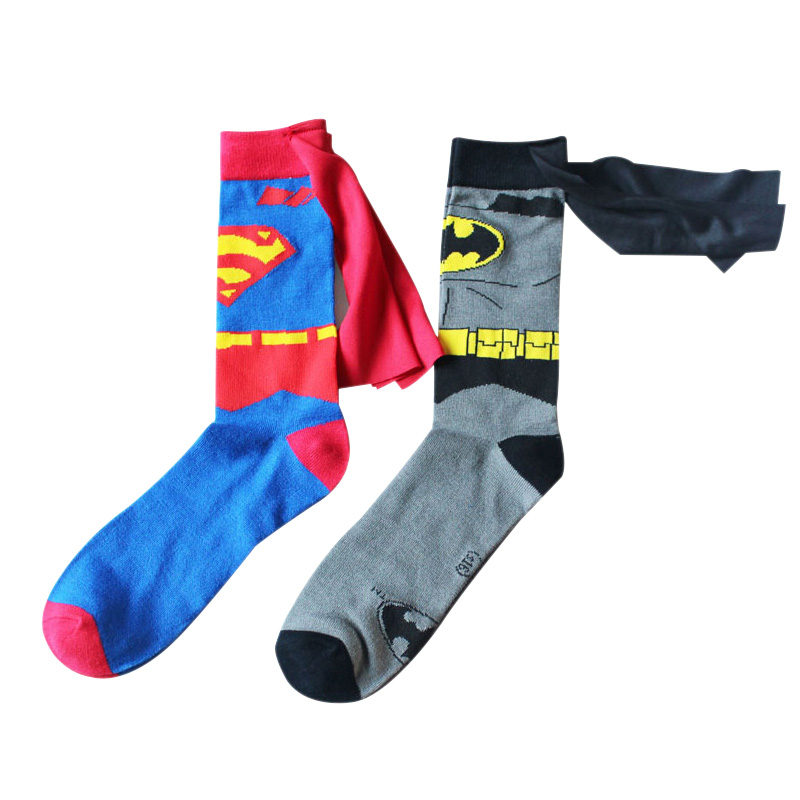 2018 batman superman cosplay casual socks women men cartoon style Knee-High summer personality ankle socks funny unisex