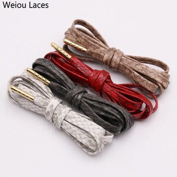 (30pairs/Lot) Weiou EXCLUSIVE Brand New 7mm Flat Snakeskin Leather LE Custom Shoelaces unisex fashion Luxury boot shoe laces