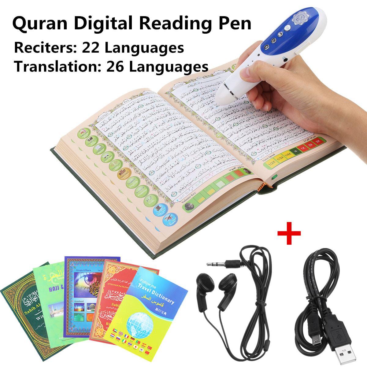 LEORY 8GB Digital Quran Pen Reader 23 Languages Digital Ramadan Quran Reader Pen Speaker Recite FM MP3 TF With 6 Books