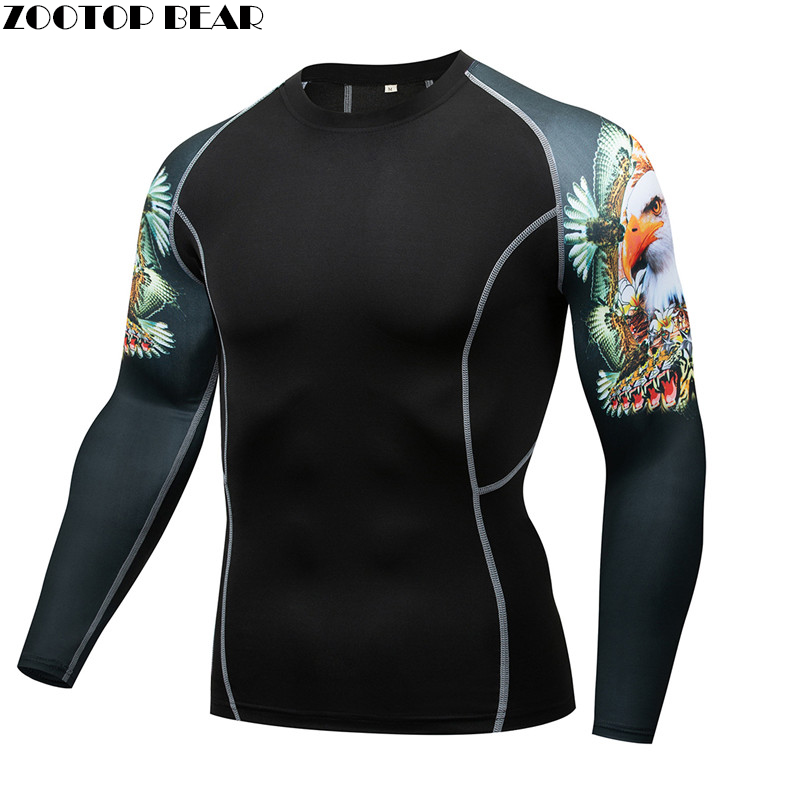 Eagle Mma Compression Shirt Men Shirt Quick Dry Elastic Base Layer Skin Tight Weight Lifting Crossfit Top Tee Rash Guard Fitness