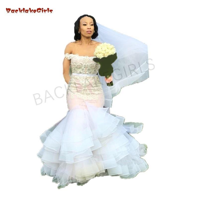 2019 Spring Mermaid Wedding Dresses Pink Lace Bridal Gowns Sexy Vestidos Noiva Bohemian Gelinlik With Veil