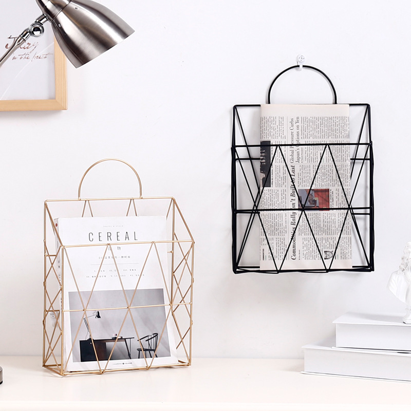 Home Improvement Bathroom Shelves Simple Wrought Iron Tabletop Metal Newspaper And Debris Decoration Storage Basket Hangable Portable Rack