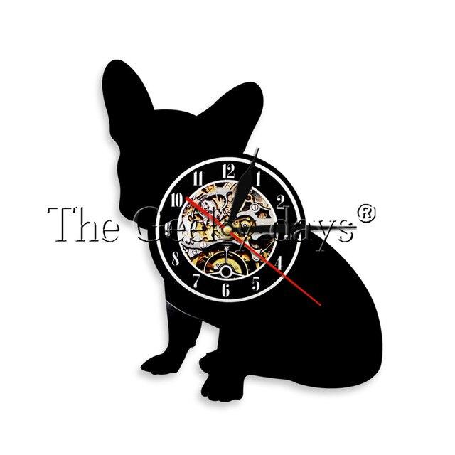 8bd75d2f3f3 1 pedaço Pet Animal Bulldog Francês Disco de Vinil Relógio De Parede Do  Vintage Relógio Pendurado