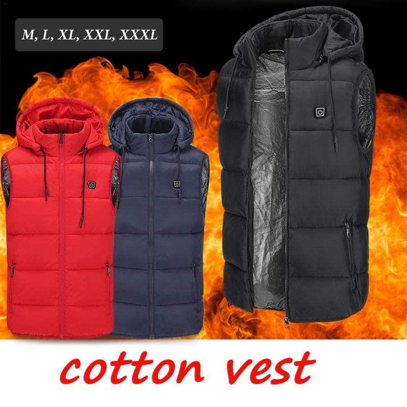 Electric Heated Vest for Men USB Intelligent Rechargeable Warm Hooded Waistcoat Heating Vest with Three Temperature Control
