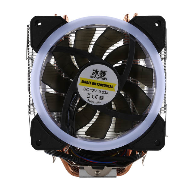 US $23 84 16% OFF|SNOWMAN LED CPU Cooler Master 5 Direct Contact Heatpipes  freeze Tower Cooling System CPU Cooling Double Fan with PWM 2 Fans-in Fans