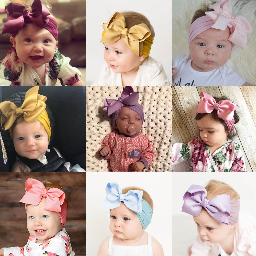 18 color new Baby hair bow flower Headband elastic ribbon Hair Band Handmade DIY hair accessories for children newborn toddler